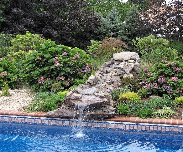 poolside waterfalls in Nassau and Suffolk Counties